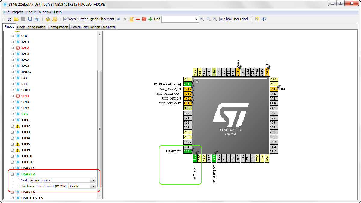 Nucleo F401re Ports Alternate Functions And Sending Numbers Over Uart Pin Diagram Now We Need To Configure Usart2